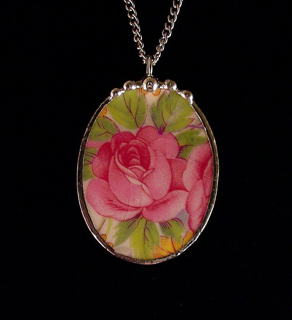 Broken China Jewelry Pendant oval pink cabbage roses made from a broken plate