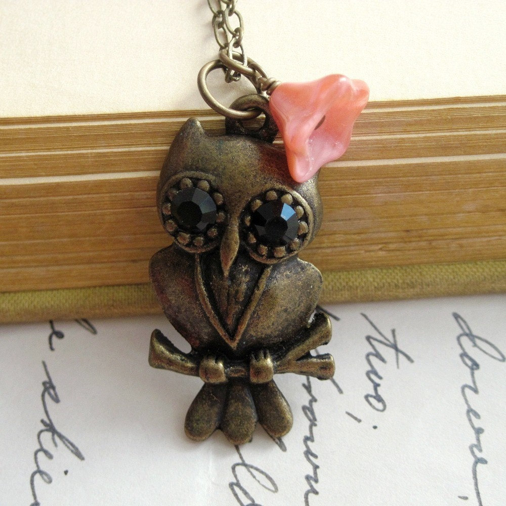 Necklace. Owl, Antique Brass, Flower, Pink, Rose, Glass, Victorian, Woodland. Nightbird.