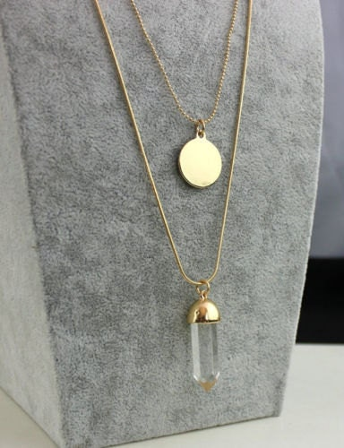QUARTZ CRYSTAL LAYERED Necklace Gold Plated  Womens Coin Disc Double Gold Clear Quartz Choker Bib Layering Modern Jewelry Jewellery Gift