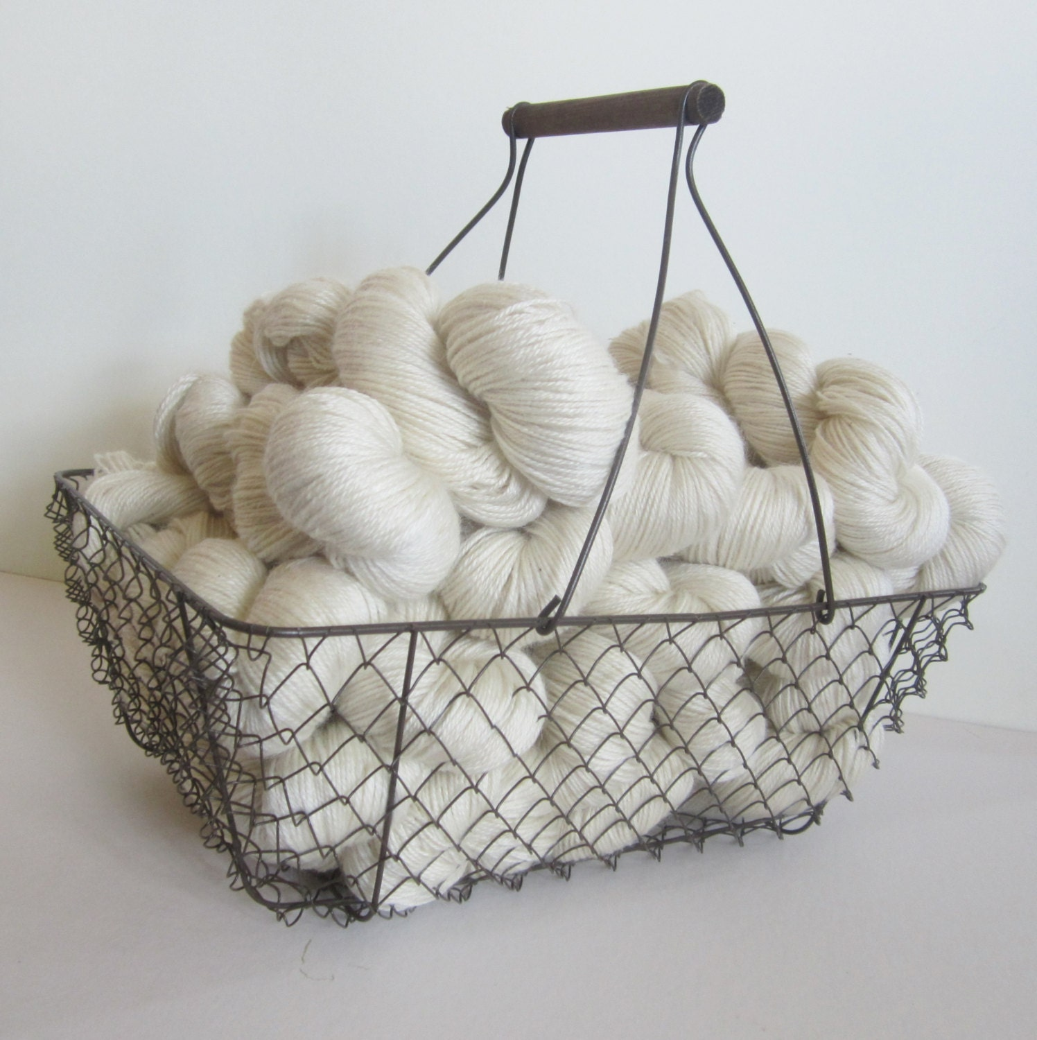 NATURAL 80/20 Pygora/Merino sport weight yarn - white/cream - PurpleDesignStudio