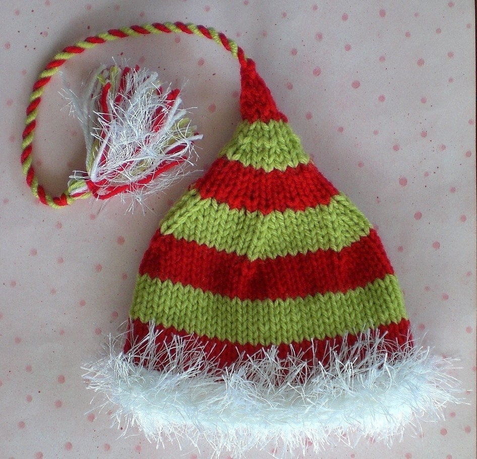 Funky Newborn Baby - CHRISTMAS TOY MAKER HAT- red and lime green striped with white Fuzzy Brim, Tail and Tassle - Knit to Order
