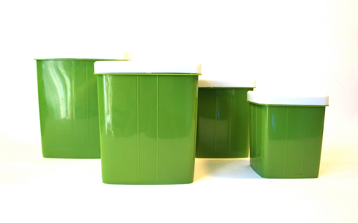 avocado green kitchen canister set of 4 by vintagecleveland