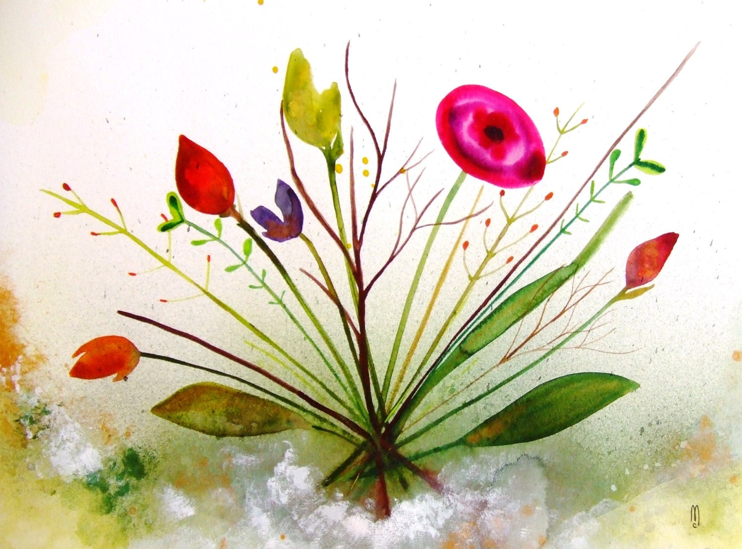 Flowers Original Watercolor Painting Ink Drawing Contemporary Modern Art Botanical Decor Garden Leave Bouquet Green Pink Wall Art Flowers - CelineArtGalerie