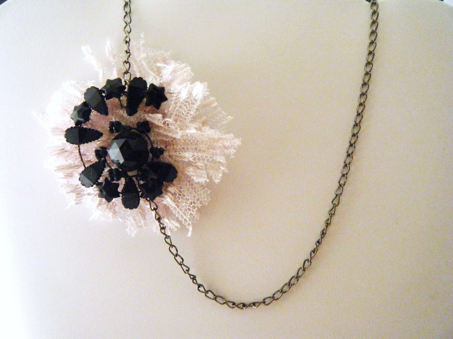 Repurposed Vintage Lace and Celstial Swirl Necklace