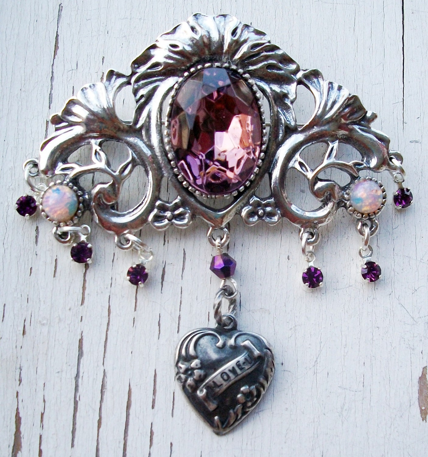 "OOAK Handmade Brooch Pin - ""Regal Affection"" - Silver Plated Pierced Vintage Base - Glass Opals, Rhinestones & Lg Glass Focal Amethyst"