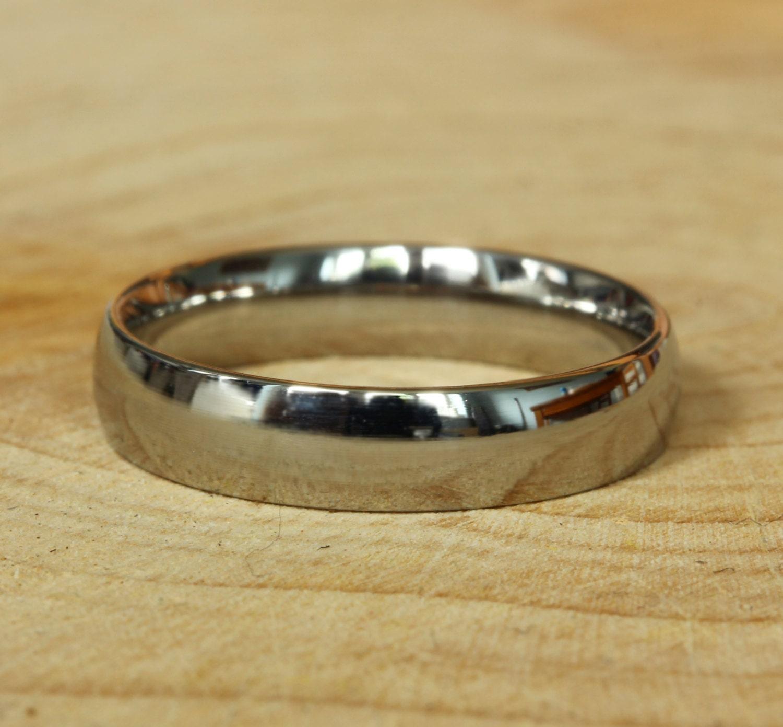 4mm Wide Comfort Fit  Court Shape Titanium Plain band Wedding Ring