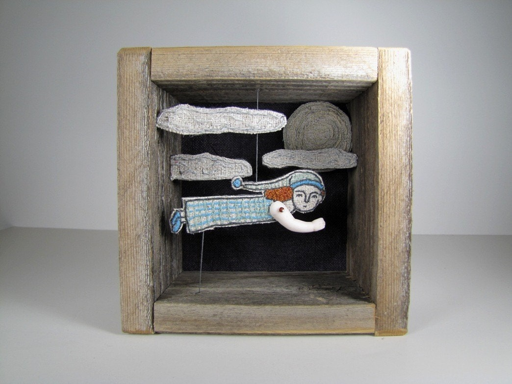 night flight - embroidered diorama
