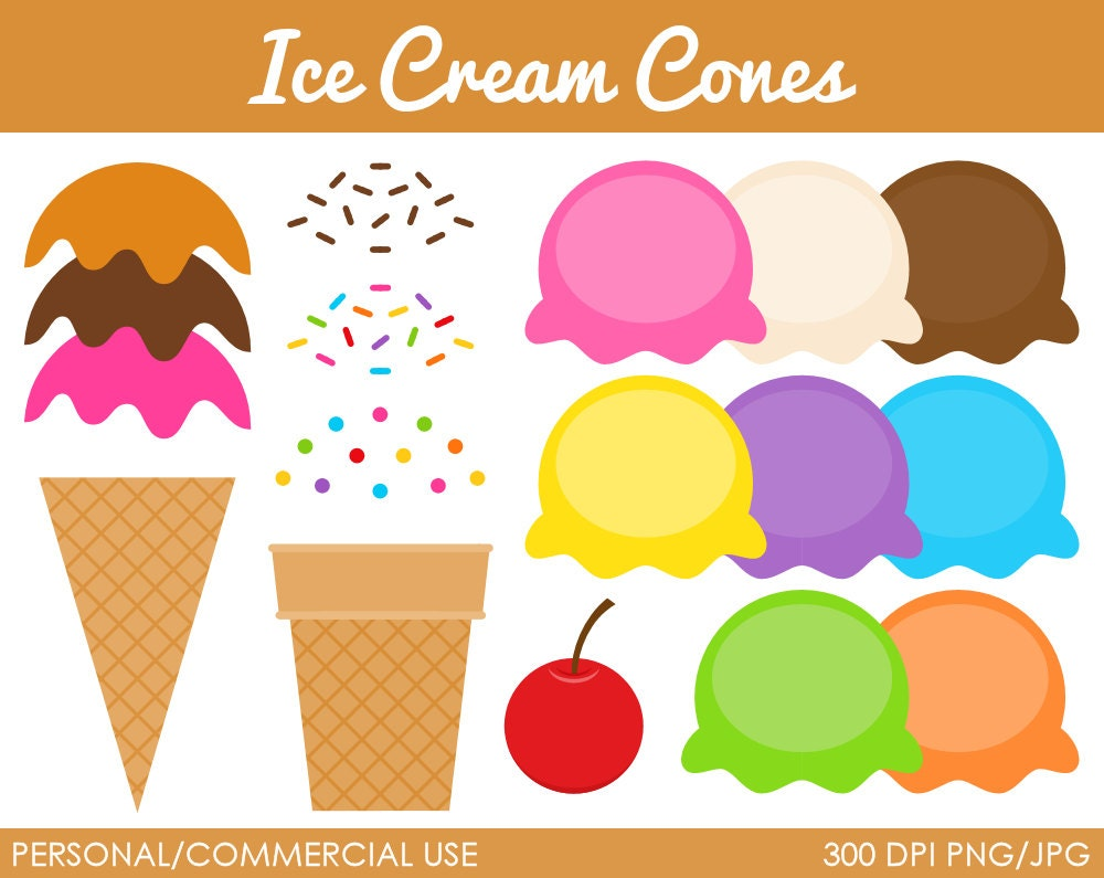 Ice Cream Cones Clipart Digital Clip Art by MareeTruelove on Etsy
