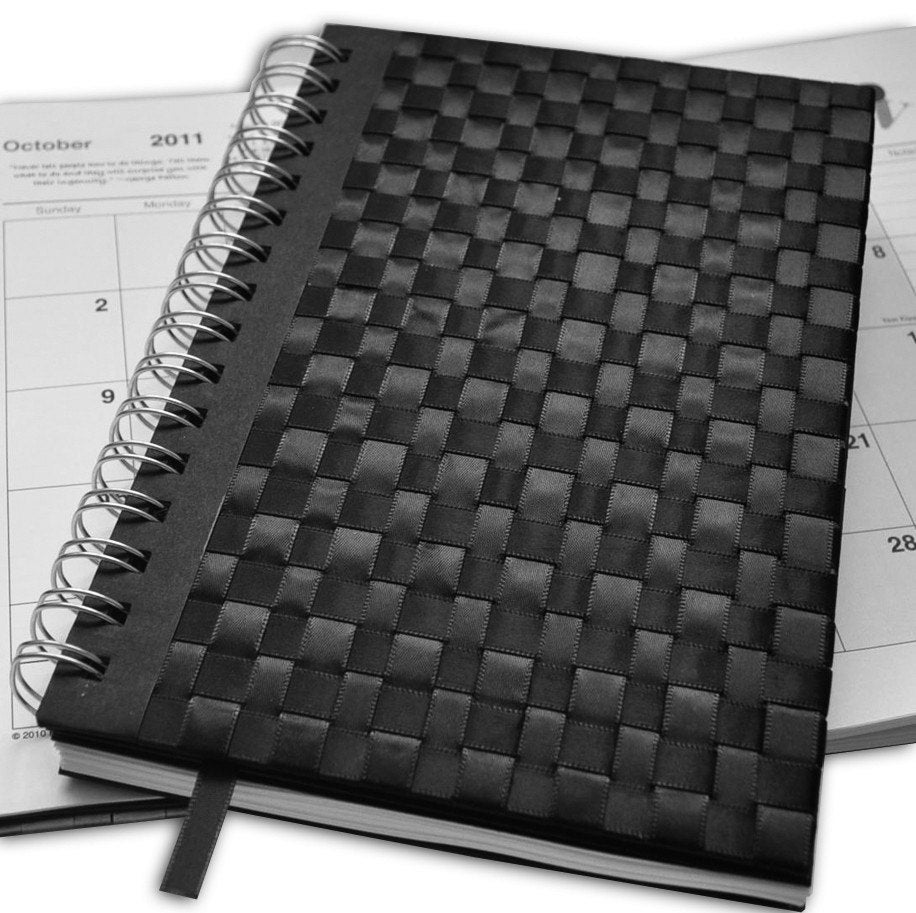 Weekly Planner  Hand woven Black Satin Ribbon