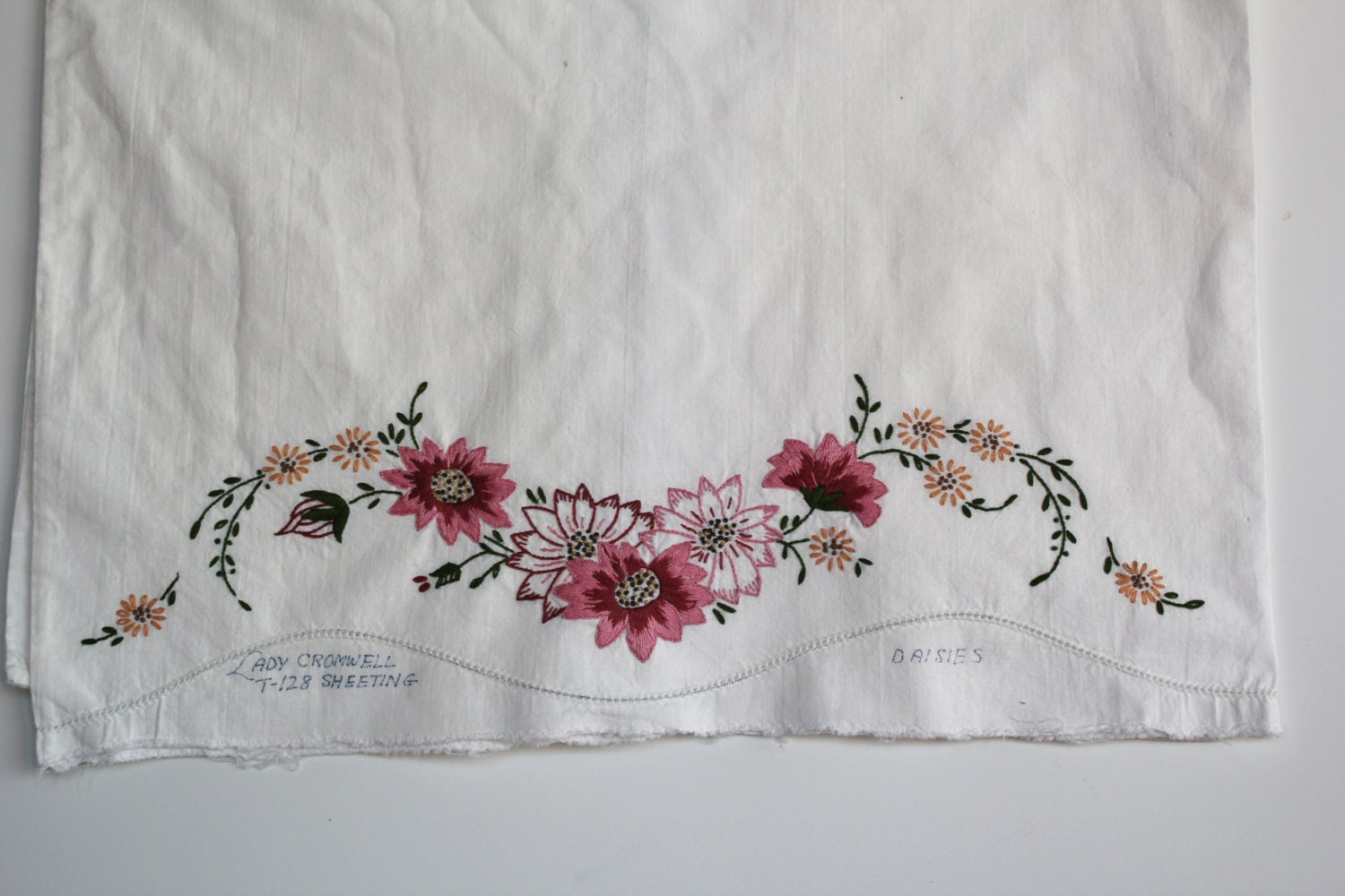 Lady Cromwell Hand Embroidered Pillow Case Vintage Embroidered Flower Pillowcase - GoldDaisy