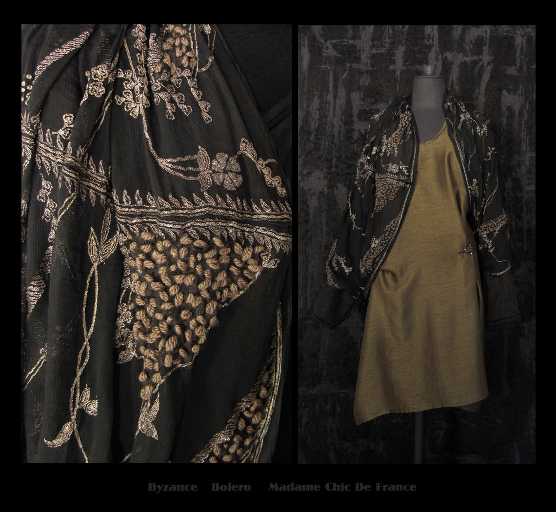 Luxurious Draped Bolero Stole Shawl , Wearable Art , Hippie Chic , One Of A Kind , Free Size S/M/L , US 8/10/12/14/16/18