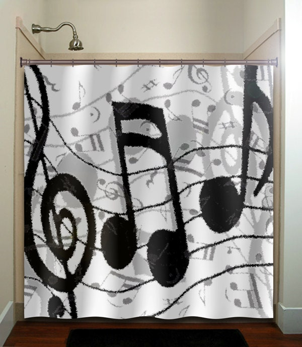 Treble Clef Sheet Music Notes Shower Curtain By Tablishedworks