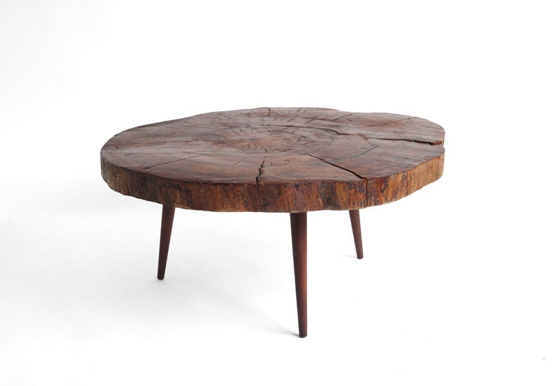 Items Similar To Vintage Tree Trunk Coffee Table Mid
