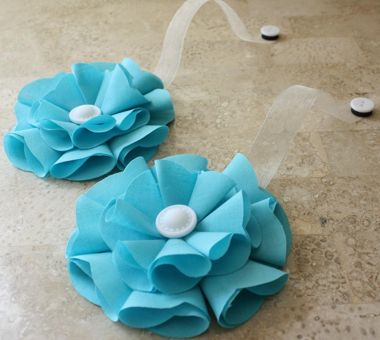 Бирюзовый Магнитные Tie резервное ткани Цветы