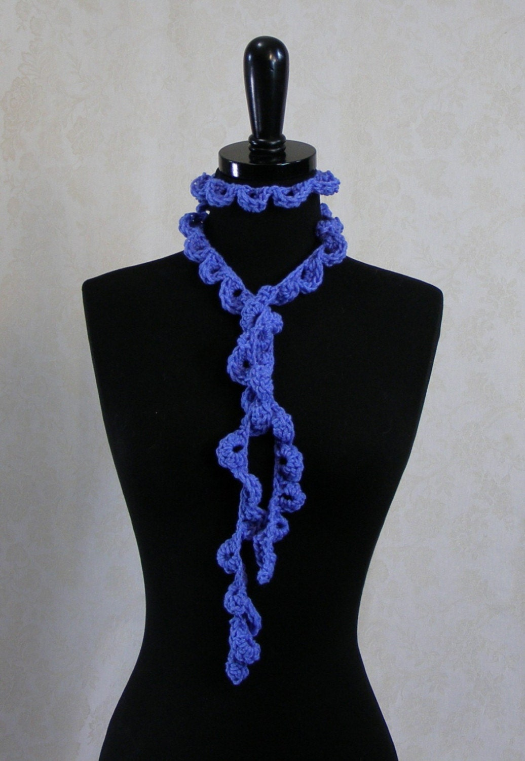 Periwinkle Cotton Blend Scallop Lariat
