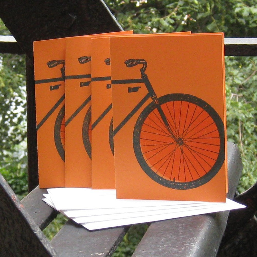 Set of 4 blue bicycle gocco cards