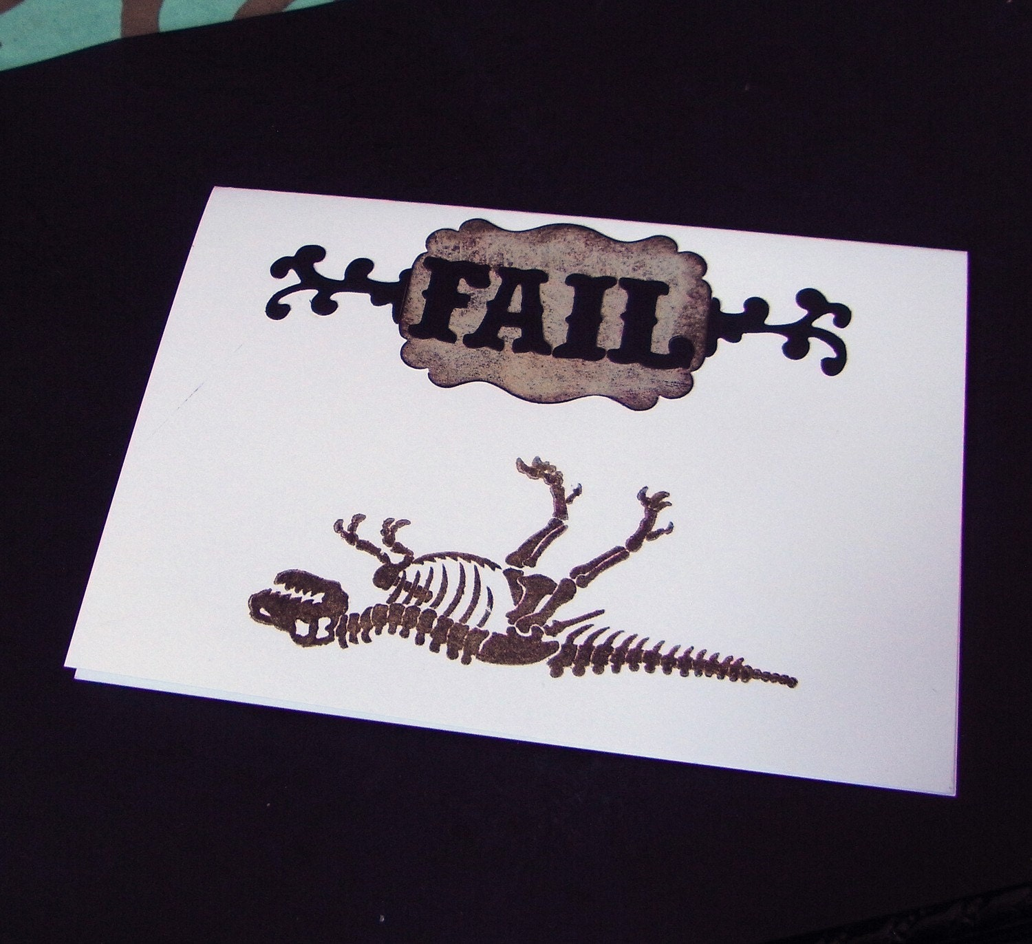 FAIL original art dinosuar greeting card
