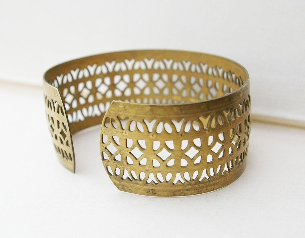 vintage brass filigree cuff bracelet