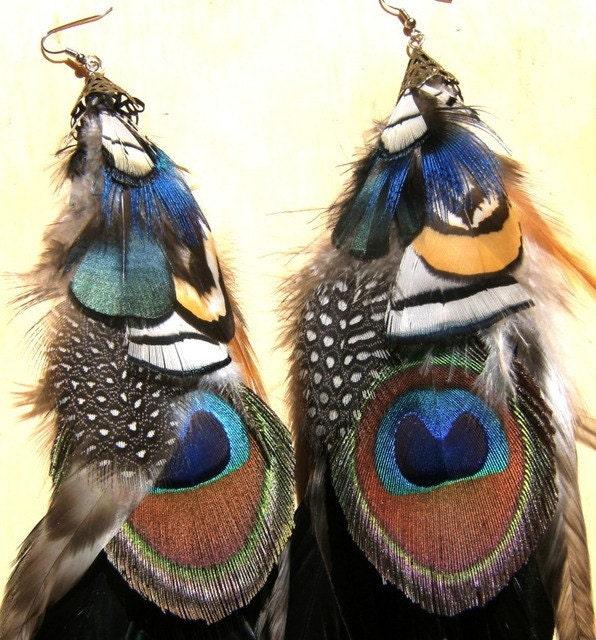 peacock summer gypsy long feather earrings