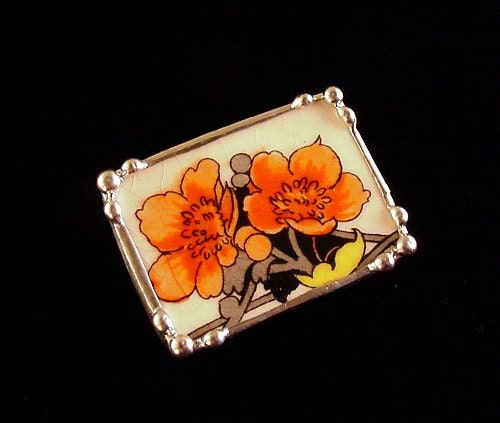 Broken china jewelry pin brooch Art Deco orange poppies antique broken china