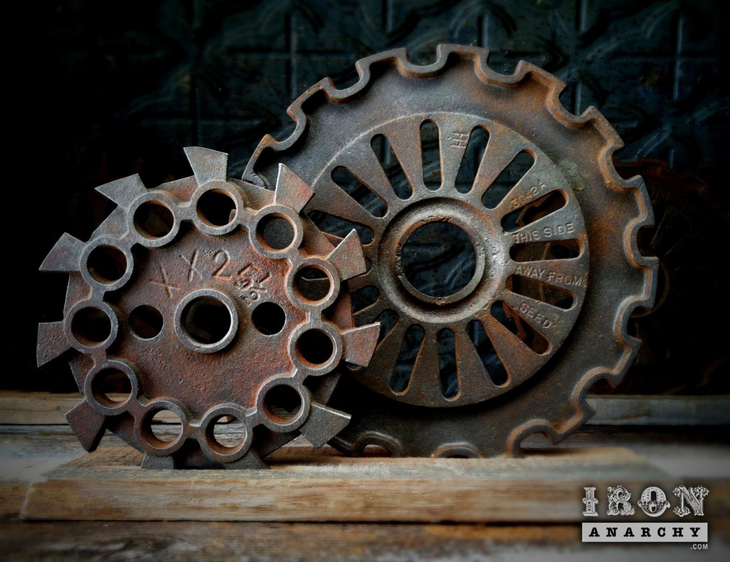 Cast Iron Wheels And Gears : Antique industrial cast iron gear sculpture machine by