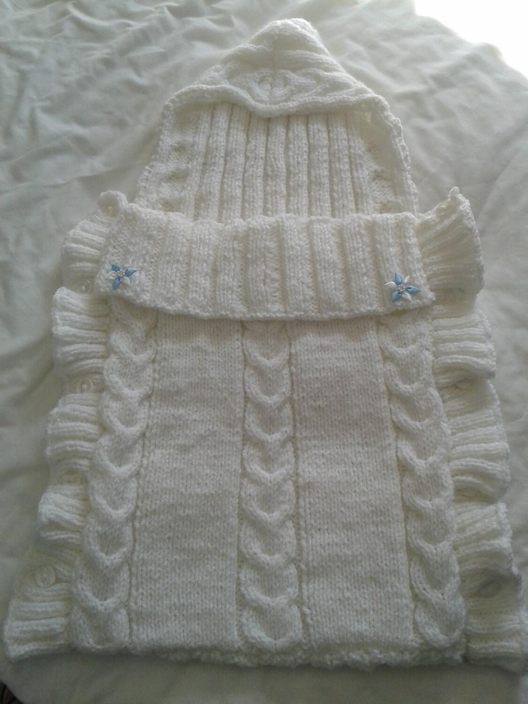 Baby Cocoon Papoose Chunky Sleeping Bag Custom Order Newborn Baby Sleeping Bag Baby Boy Handmade Hand Knitted Baby Girl