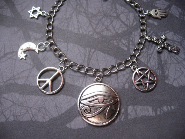 supernatural protection symbols charm bracelet jewelry by