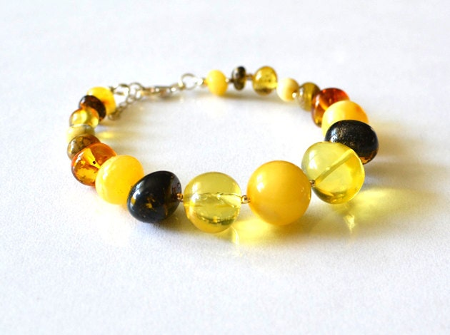 Baltic Amber Bracelet Boho Bracelet Unique Multi Color Gemstone with Sterling Silver Urban - KARUBA