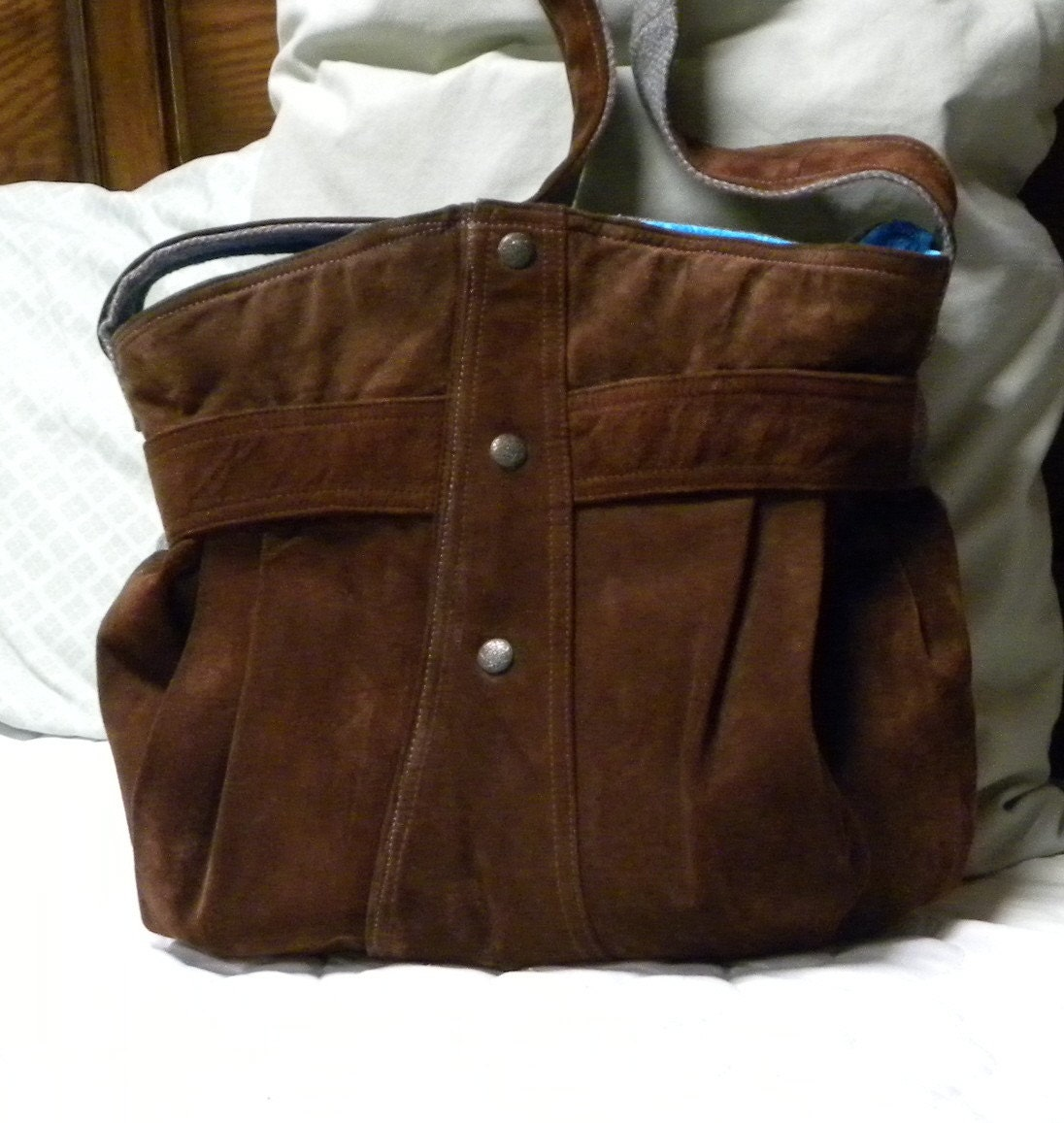 Handmade from a Rusty Brown Leather Jacket and Tweed Sport Coat - Handbag - Tote - Purse