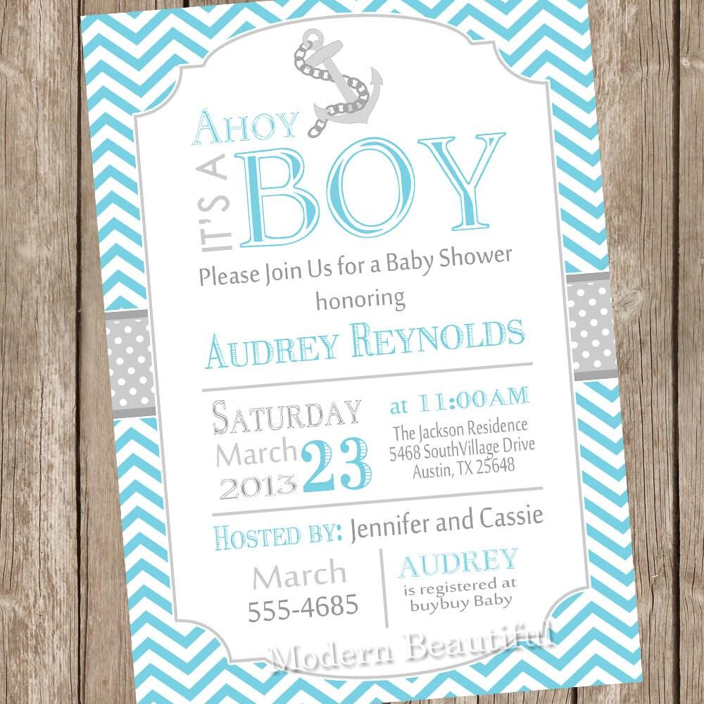 chevron ahoy it 39 s a boy baby shower invitation blue grey anchor