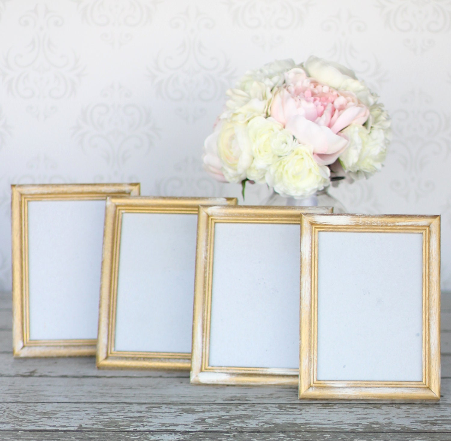 Rustic Gold Wedding Frames 5x7 Shabby Decor SET of 4 - braggingbags