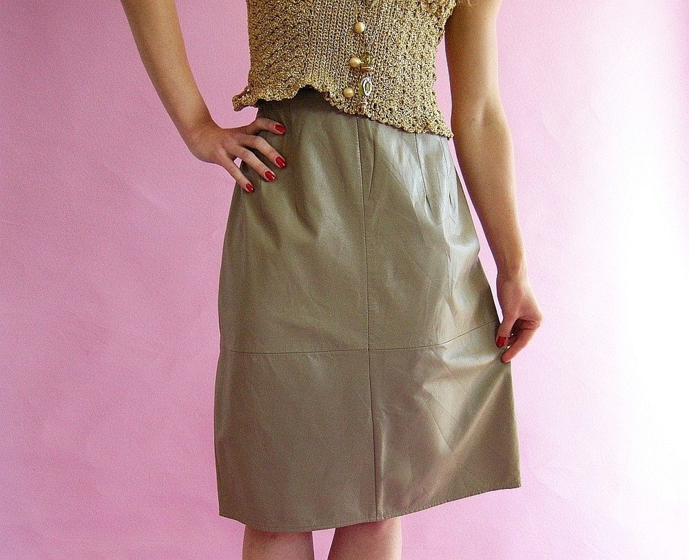 Soft Taupe Leather Skirt Vintage 80s L by empressjade on Etsy from etsy.com