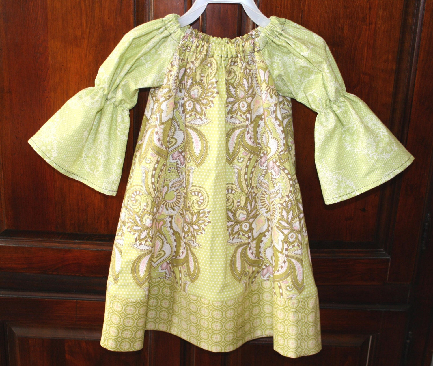 Peasant Dress Pink Green Olive Tula Pink Hushabye Size 2T, 3T, 4T, 5 ... BlakeandBailey