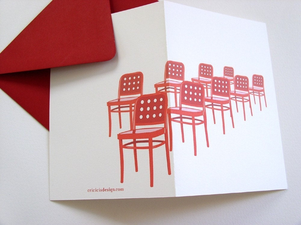 red chairs notecard