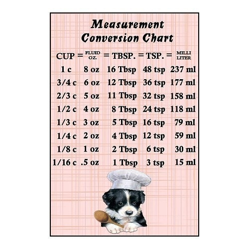 SALE Measurement Conversion Chart Magnet Cute Puppy Dog Chef Design