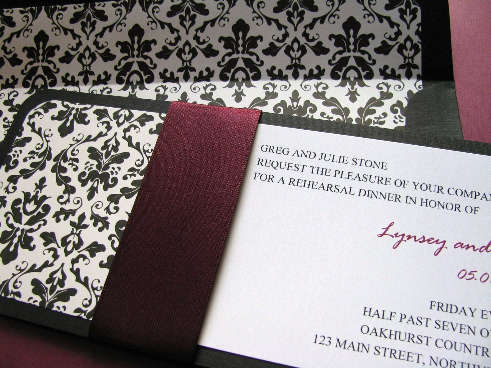 18 sets of The Plum Damask Invitation