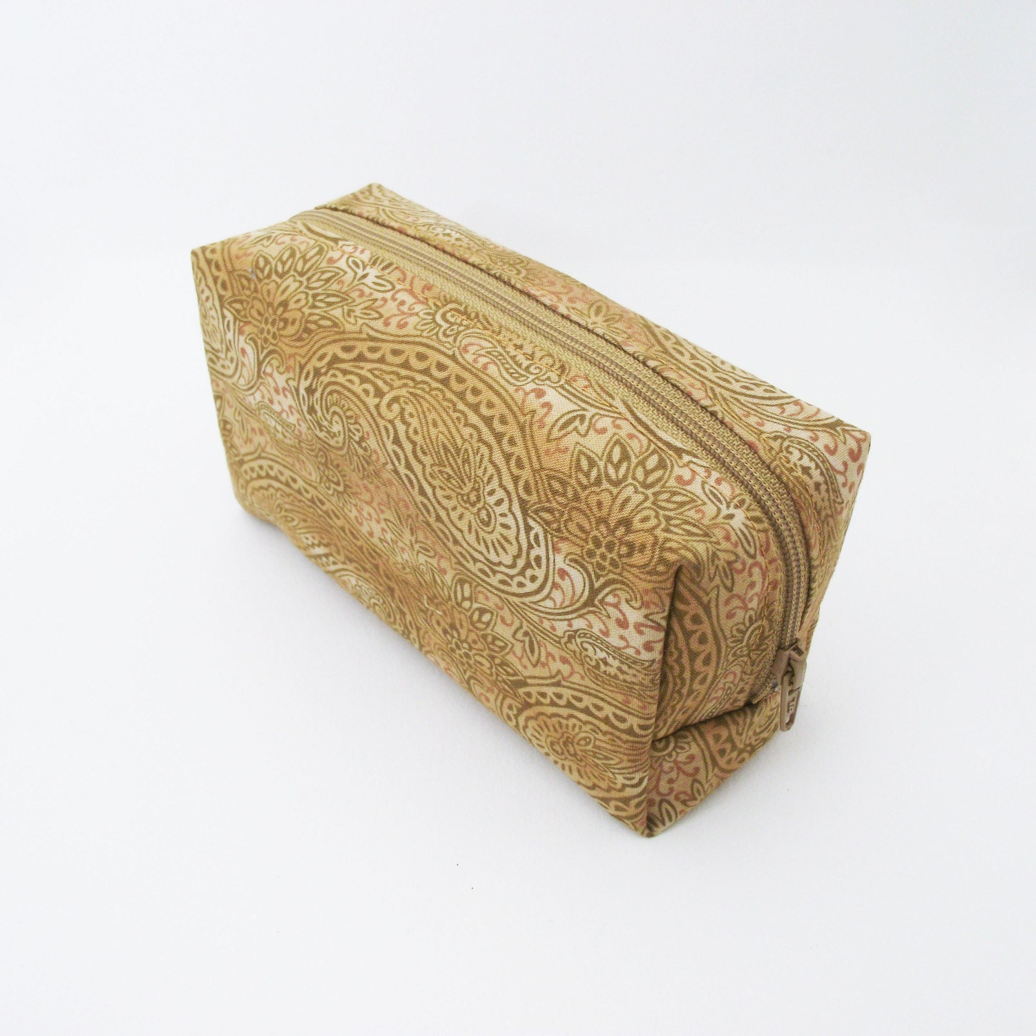 Cosmetic bag boxy style. Makeup storage zipper pouch. Golden yellow and mustard paisley print