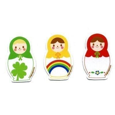 Russian Doll Clover Rainbow Flower Magnet Set