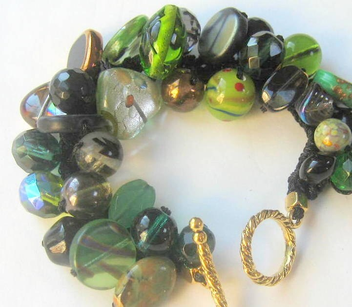 Woodland Earthy Green Bracelet -  Semi Precious Fossil - Lamp Work Venetian Beads - OOAK unique Hand Knit  Fiber Art