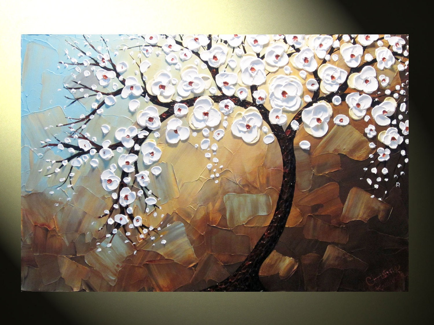 Original Abstract Tree Painting Textured
