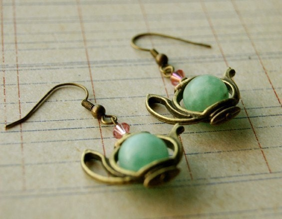 Antique Gold and Amazonite Teapot Earrings Buy 3 Get 1 Free