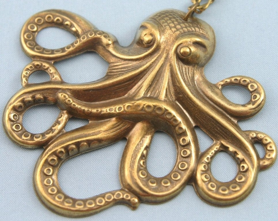Eight Legged Sea Monster in Brass Necklace