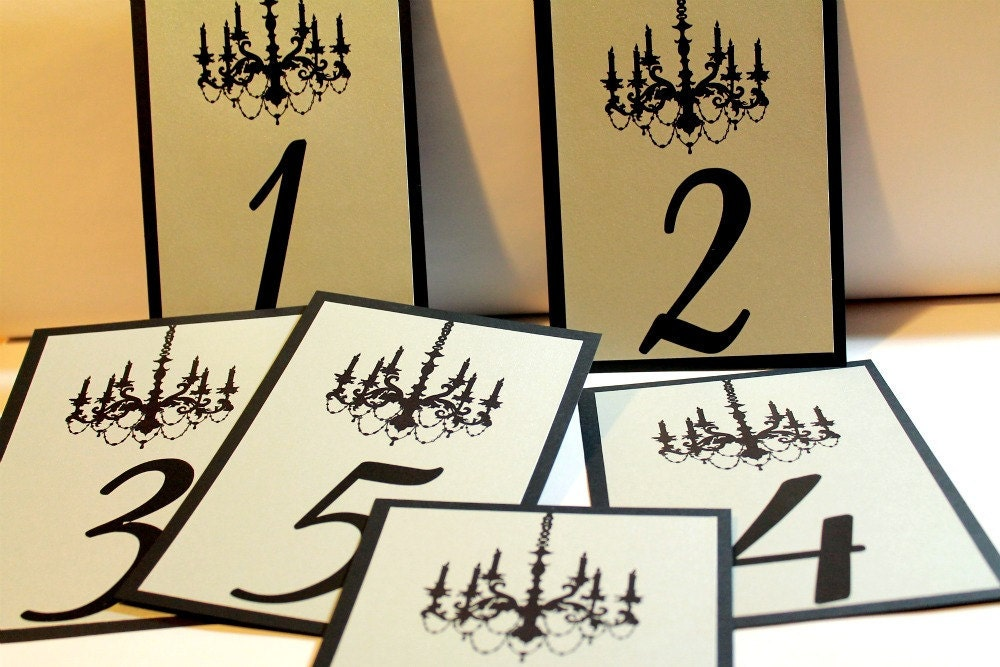 Set of 10 Black and Silver Wedding Table Numbers with Chandelier Elegant