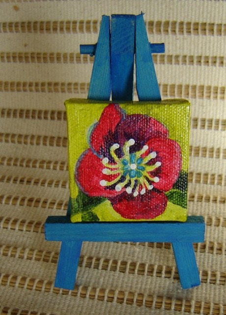 Le Petite Poppy Original Acrylic  2 x 2 Painting with Blue  Wooden Easel