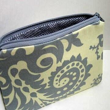 MODERN GRAY Small Zipper pouch or coin purse