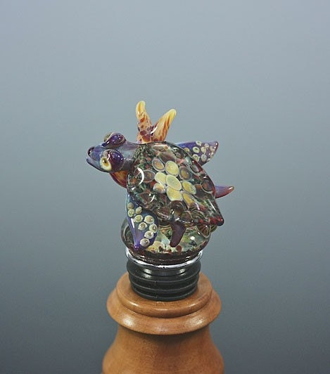 Lampwork Glass Sea Turtle Wine Bottle Stopper Topper Sculpture Collectable