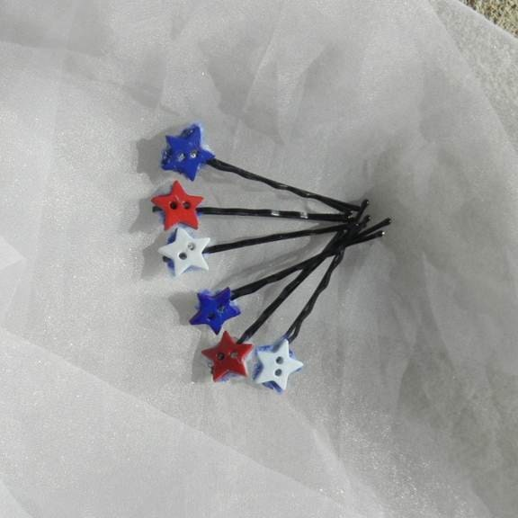 Red White Blue Stars Bobby Pin Set