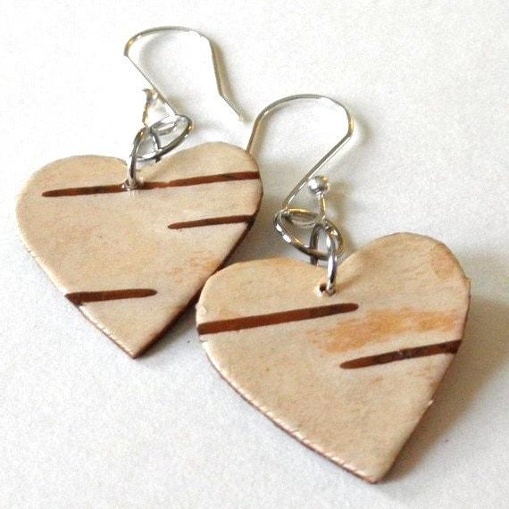 Березовой коры серьги ... сердцах День Святого Валентина