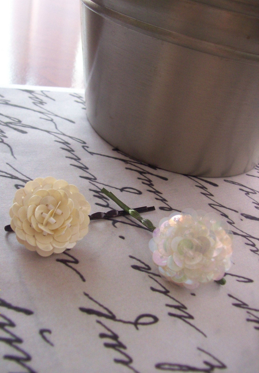 Set Of 2 Sequined Floral Hair Pins