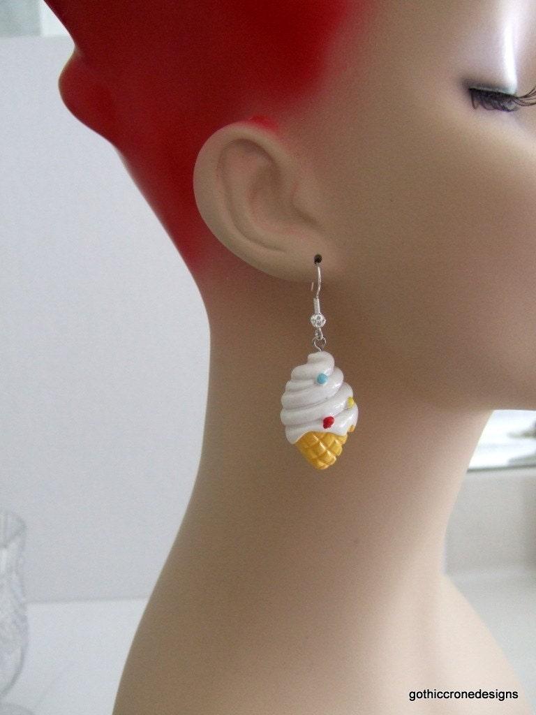 Cute Lolita Polk a Dots Resin Kawaii Ice Cream Cone Earrings Free Worldwide Shipping OOAK